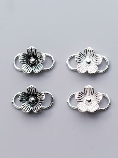 925 Sterling Silver With Silver Plated Five petals&8 buckle Connectors