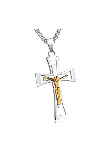 Personalized Jesus Cross Pendant Titanium Necklace