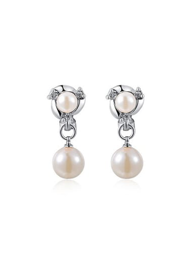Temperament Double Pearl Clip On Earrings