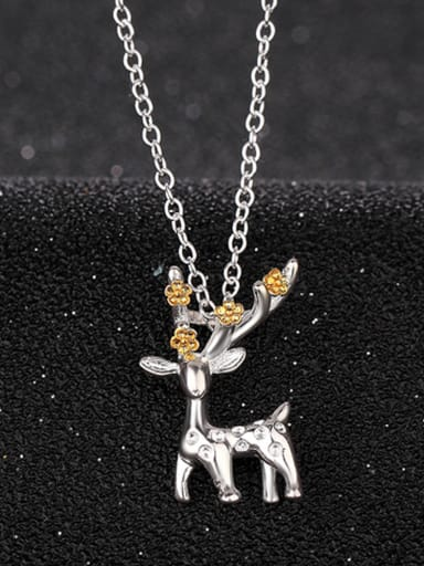 Personalized Christmas Deer Pendant Copper Necklace