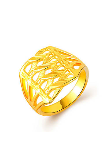 Women 24K Gold Plated Hollow Geometric Ring
