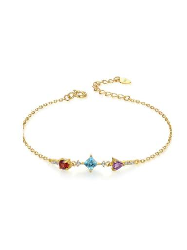Topaz Garnet Crystal Gold Plated Silver Bracelet