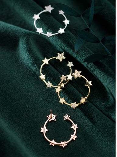 925 Sterling Silver With Silver Plated Simplistic Star Stud Earrings