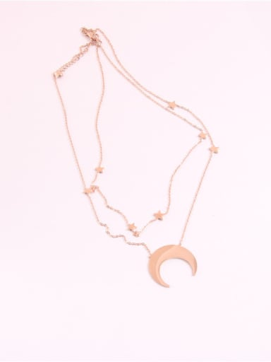 Simple Star Moon Pendant Double Chain Necklace