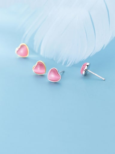 925 Sterling Silver With Gold Plated Simplistic Heart Stud Earrings