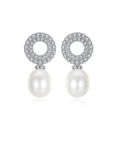 925 Sterling Silver With Platinum Plated Simplistic Round Drop Earrings