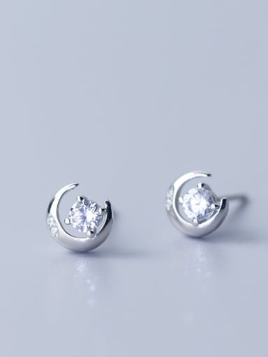 925 Sterling Silver With Silver Plated Cute Moon Stud Earrings
