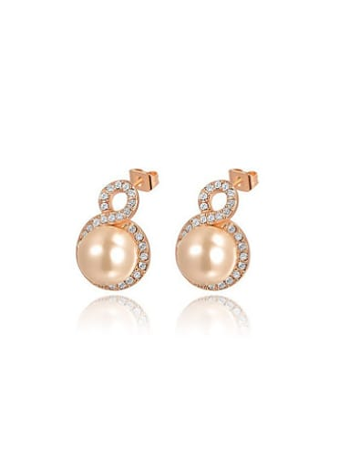 Exquisite Number Eight Shaped Artificial Pearl Stud Earrings