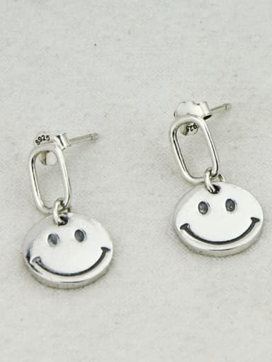 Vintage Sterling Silver With Antique Silver Plated Simplistic Retro Smiley  Drop Earrings
