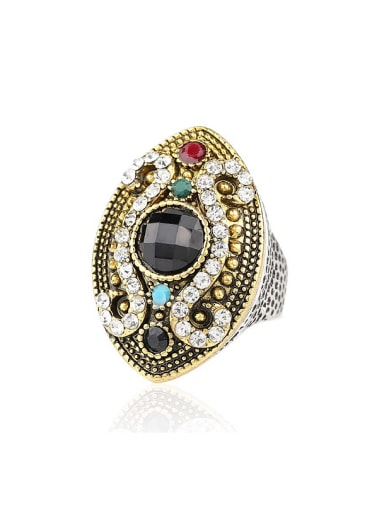 Retro style Resin stones Crystals Oval Alloy Ring