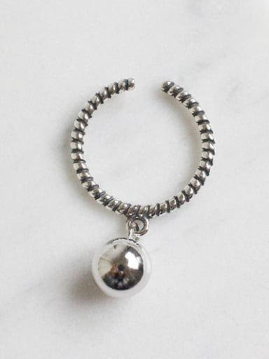 Simple Smooth Bead Silver Opening Ring
