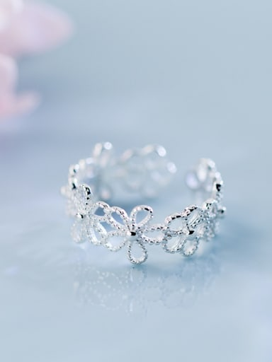 925 Sterling Silver With Silver Plated Romantic Lace Flower Rings