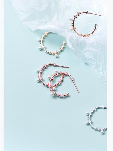 Japanese style simple branches tweezers sweet imitation pearls earrings