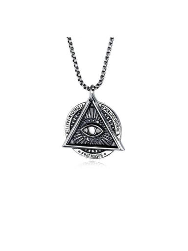 Titanium With Black Gun Plated Personality Evil Eye Mens  Pendants