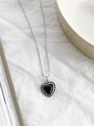Sterling silver black agate love necklace