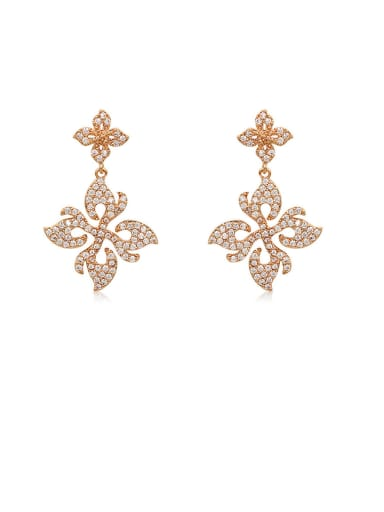 Copper With Cubic Zirconia Simplistic Flower Drop Earrings