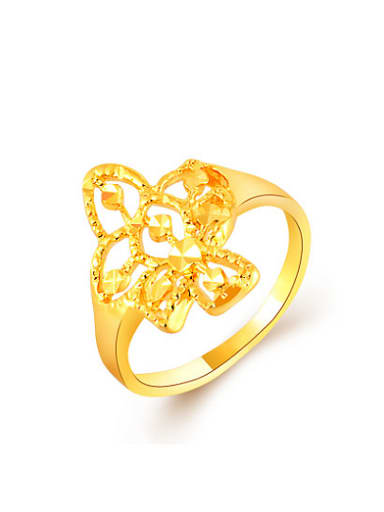 Exquisite Hollow Flower Shaped 24K Gold Plated Copper Ring