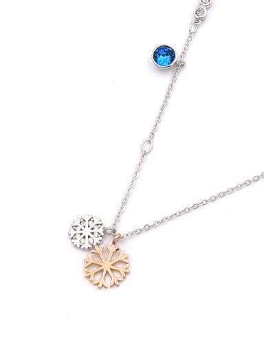 Double Snowflake Shaped Pendant Fresh Clavicle Necklace