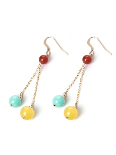 Retro style Natural Stone Beads 925 Silver Earrings