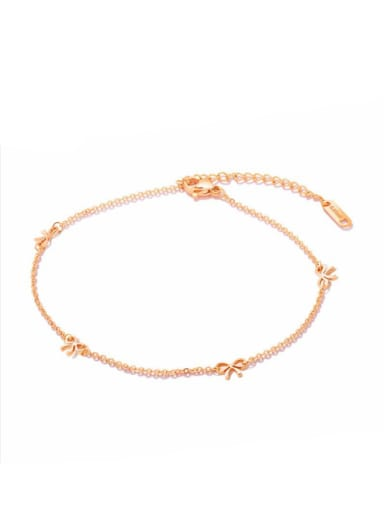 Stainless Steel With Rose Gold Plated Cute Bowknot Anklets