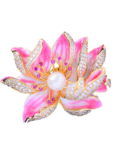 Copper With cubic zirconia Romantic Flower peony Brooches