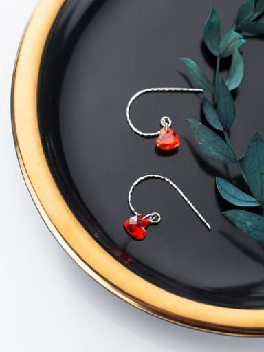 925 Sterling Silver With Silver Plated Simplistic Heart Hook Earrings