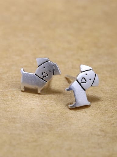 Tiny Cute Dog 925 Silver Stud Earrings
