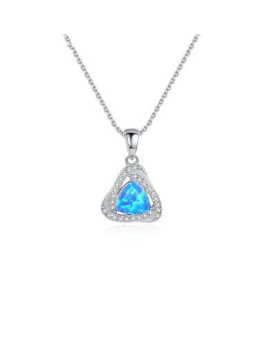 925 Sterling Silver With White Gold Plated Simplistic Triangle Necklaces
