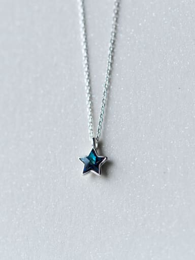All-match Blue Star Shaped Zircon S925 Silver Necklace