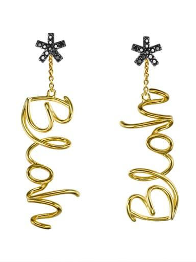 Flower light gold English alphabet Earrings