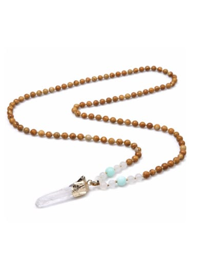 Wooden Beads Crystal Retro Style Unisex Necklace