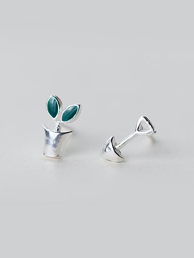 S925 silver lovely grass mini shovel stud cuff earring