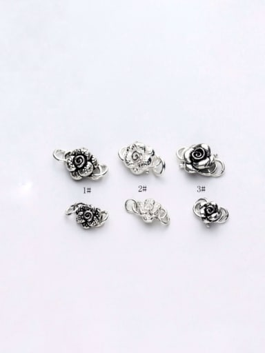 925 Sterling Silver With Silver Plated Rose S buckle Connectors
