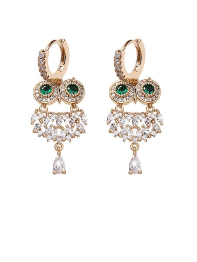Alloy With Gold Plated Cute Owl Drop Earrings