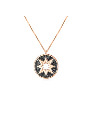 Copper With Rose Gold Plated Simplistic Hollow Star Necklaces