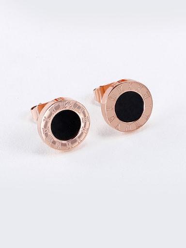 18K Rose Gold Titanium Digital Black Round Shaped stud Earring