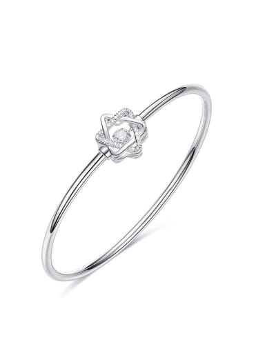 Elegant Cubic Rotational Zircon Flowery 925 Silver Bangle