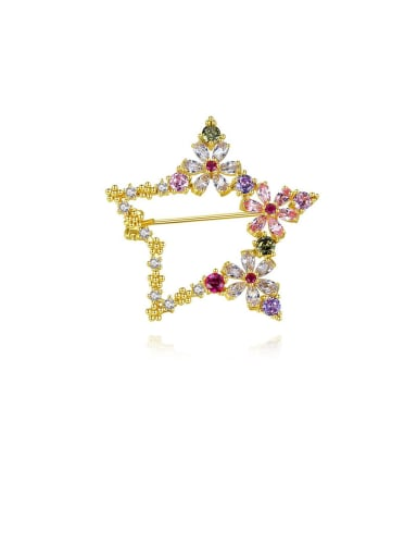 Copper With Cubic Zirconia  Delicate Star Lapel Pins & Brooches