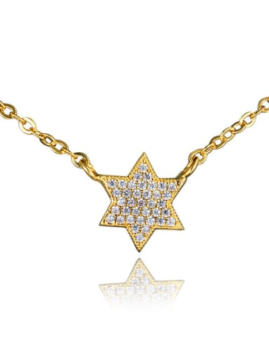 Couples All-match 18K Gold Plated Star Shaped Zircon Necklace