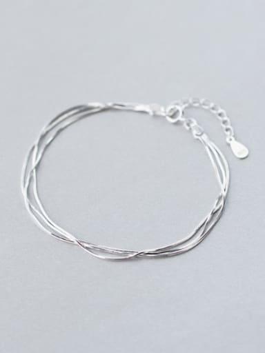 S925 silver simple multi layer jadoku  bracelet