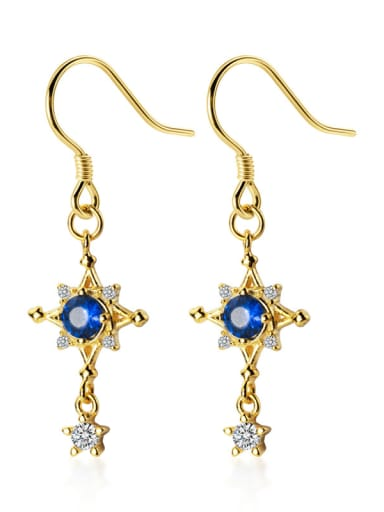 925 Sterling Silver With Cubic Zirconia Fashion Star Hook Earrings