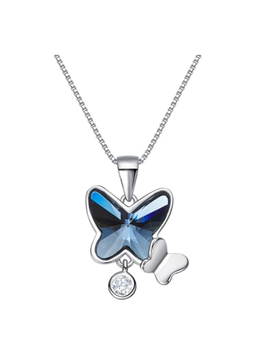 Fashion Blue Butterfly Swarovski Crystal 925 Silver Necklace