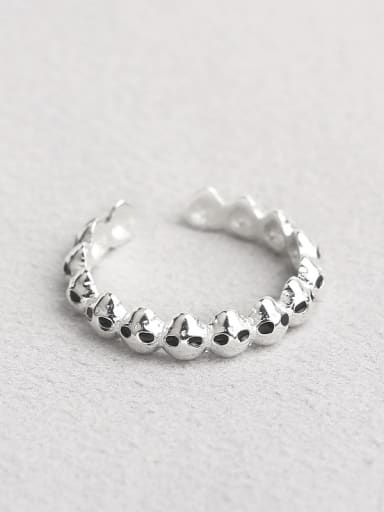 Personalized Little Skulls Silver Opening Ring