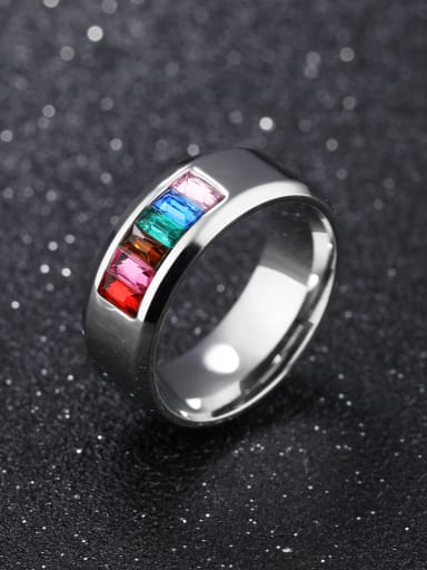 Fashion Colorful Zircon Titanium Ring