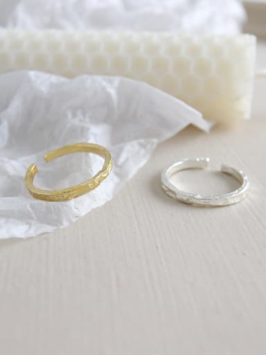 925 Sterling Silver With 18k Gold Plated Personality Irregular surface Free Size Rings