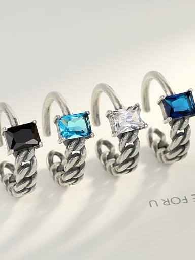 Sterling silver vintage semi-precious stones asymmetrical Thai silver style ring