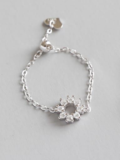 Sterling silver micro-inlaid zircon flower chain adjustment ring
