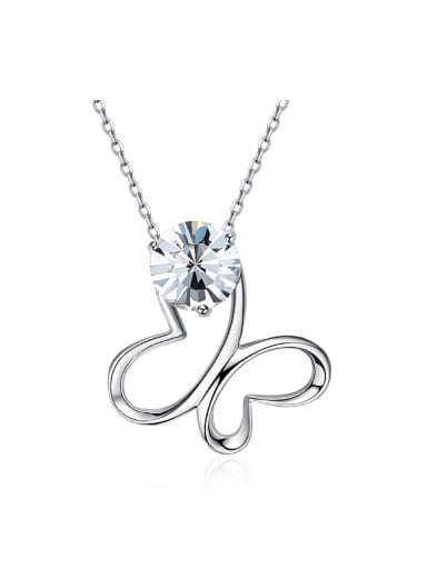 Fashion Hollow Butterfly Swarovski Crystal 925 Silver Necklace