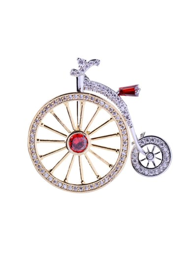 Copper With Cubic Zirconia Cute Bike Brooches