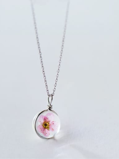 Creative Pink Tree Shaped 925 Silver Necklace